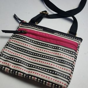 Fossil polka dot stripe cross body new